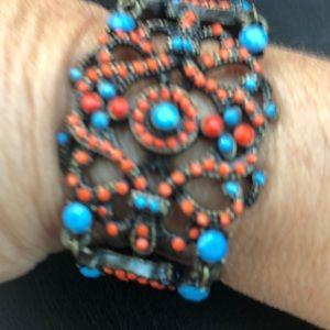 Bracelet, Orange and Royal blue beads